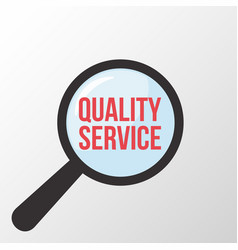 Quality service word magnifying glass vector