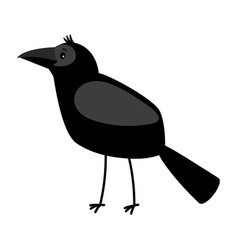 Raven cartoon bird icon vector