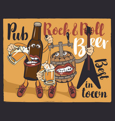 Rock-n-roll pub banner with beer bottle and barrel vector