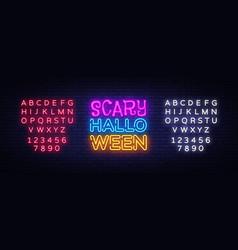 scary halloween neon text design template vector image