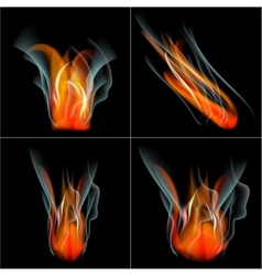 Set Burn flame fire abstract background with place vector image