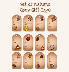 Set cute cartoon autumn elements gift tags vector