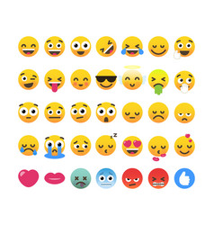 set of 35 funny emoticons emoji flat design vector image