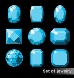 set of blue gems aquamarine of various shapes vector image