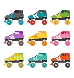 Set of flat quad roller skates vector