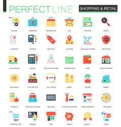 set of flat shopping and retail icons vector image
