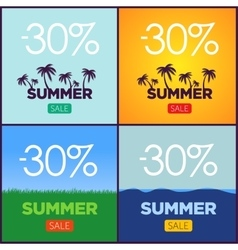 Set of summer sale promotion posters vector image