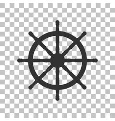 Ship wheel sign Dark gray icon on transparent vector image