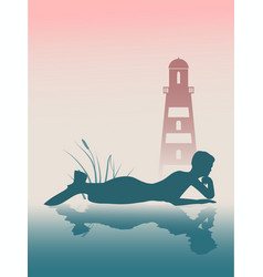 Silhouette of beautiful mermaid vector