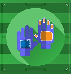 Soccer Goalkeeper Blue Gloves round icon vector image