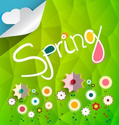 Spring Title on Triangle Green Background with vector image