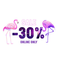 summer sale banner with pink flamingo and violet vector image