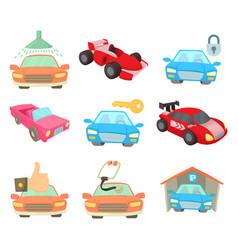 super car icon set cartoon style vector image