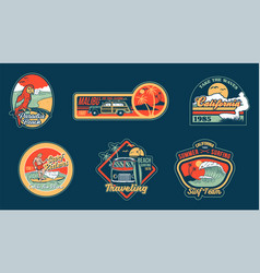 surfing set prints stickers patches posters vector image