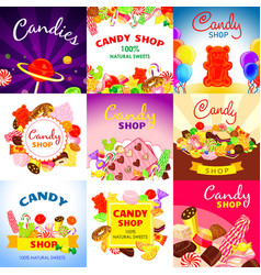 Sweet candy banner set cartoon style vector