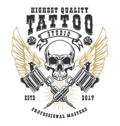 tattoo studio poster template winged skull with vector image