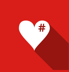 The hash love icon hashtag heart symbol icon vector