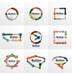 Thin line design geometric button set flat vector image