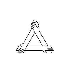 Three hand holding each other logo icon vector