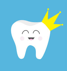Tooth health icon yellow crown cute funny cartoon vector