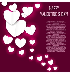 Valentines day paper heart backgroung vector