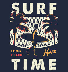 vintage surf time colorful emblem vector image
