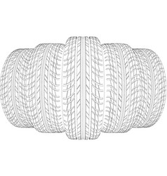 Wedge of five wire-frame tires vector