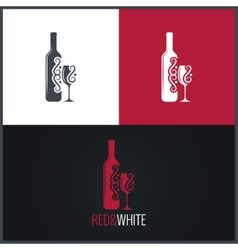 Wine bottle and glass logo background vector