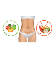 Woman body with healthy and unhealthy food vector