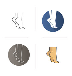 Woman standing on tiptoes icon vector