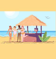 Women at beach bar flat doodle female friends vector