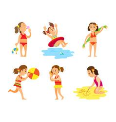 women in swimsuit summer activity on beach vector image