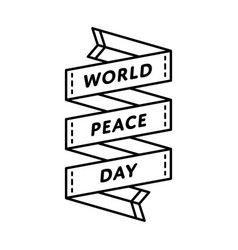 world peace day greeting emblem vector image
