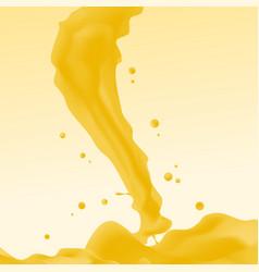 yellow liquid splash wavy jet realistic drops vector image