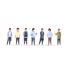 Young asian men group wearing casual clothes happy vector