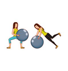 Young athletic women practicing pilates vector