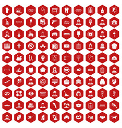 100 favorite work icons hexagon red vector image vector image