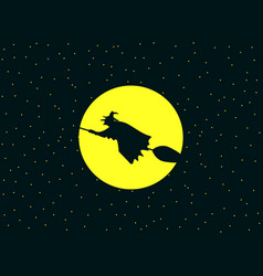 a witch flying on a broomstick against vector image