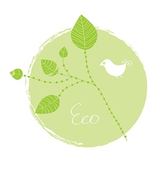 Eco label with leaves vector image