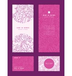 Pink flowers lineart vertical frame pattern vector