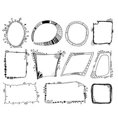 hand drawn fantasy frames set vector image