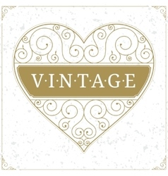 Heart luxury logo template in vintage style vector image
