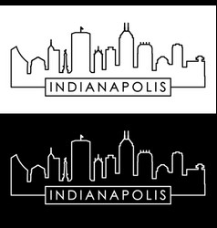 indianapolis skyline linear style editable file vector image