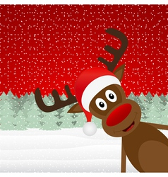 reindeer peeking side in the forest vector image vector image