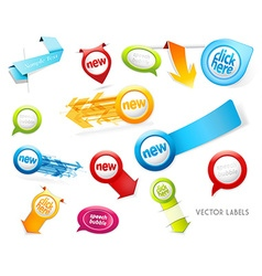 Set of colorful labels badges speech bubbles vector
