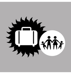 Silhouette family vacation suitcase icon vector