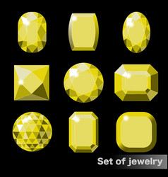set of yellow gems topaz of various shapes vector image
