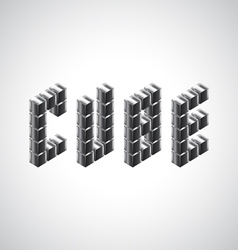 Cube word from 3d metal cubes vector image vector image