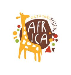 original african logo with cute giraffe vector image vector image