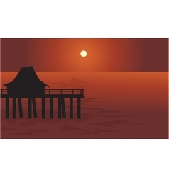 Pier and hut in sea vector image vector image